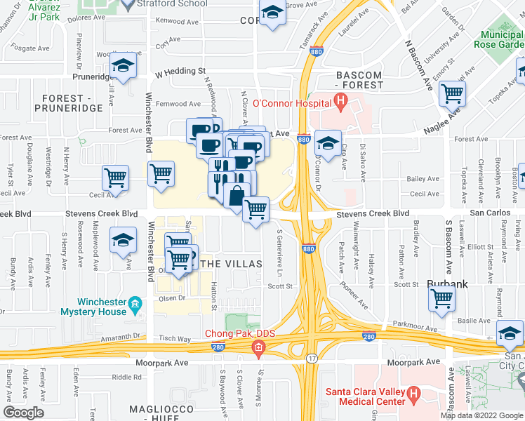 map of restaurants, bars, coffee shops, grocery stores, and more near Stevens Creek Blvd & N Monroe St in San Jose
