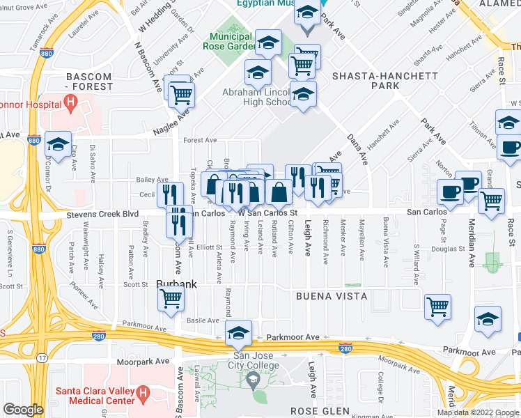 map of restaurants, bars, coffee shops, grocery stores, and more near 1875 West San Carlos Street in San Jose