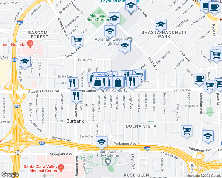 map of restaurants, bars, coffee shops, grocery stores, and more near 320 Irving Avenue in San Jose