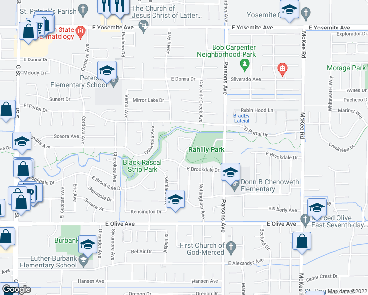 map of restaurants, bars, coffee shops, grocery stores, and more near 3317 Shamrock Avenue in Merced