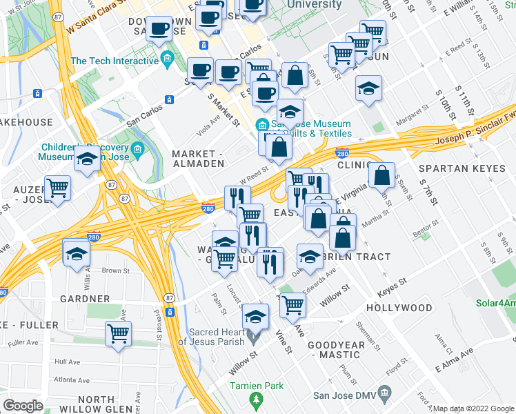 map of restaurants, bars, coffee shops, grocery stores, and more near 107 Duane Street in San Jose