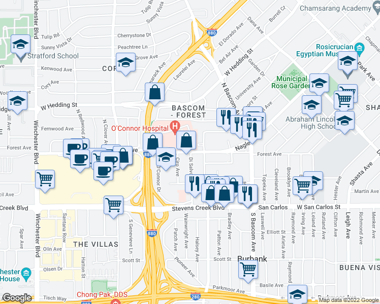 map of restaurants, bars, coffee shops, grocery stores, and more near 2081 Forest Avenue in San Jose