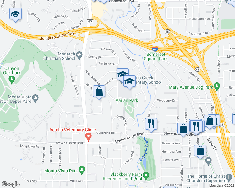 map of restaurants, bars, coffee shops, grocery stores, and more near 10264-10398 Ainsworth Drive in Cupertino