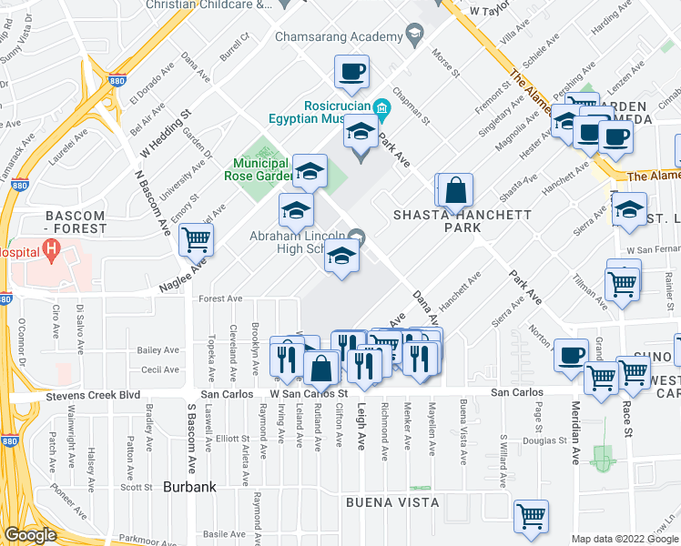 map of restaurants, bars, coffee shops, grocery stores, and more near 555 Dana Avenue in San Jose