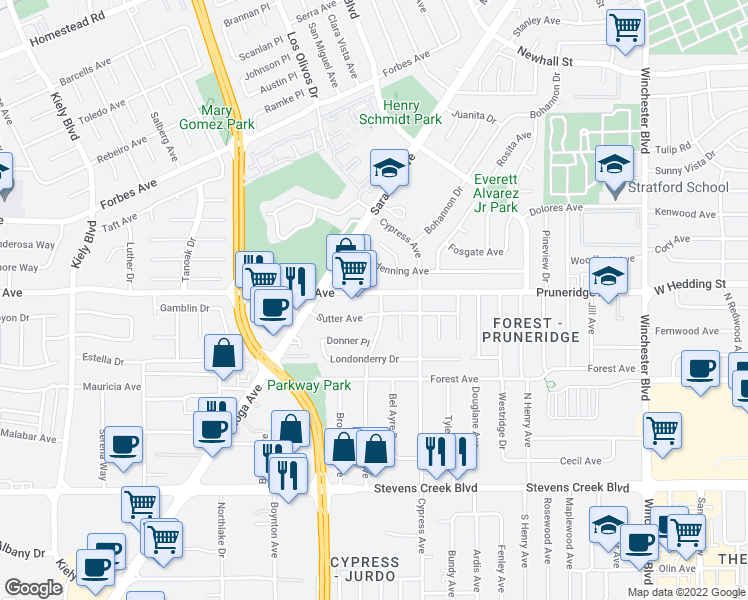 map of restaurants, bars, coffee shops, grocery stores, and more near 2344 Pruneridge Avenue in Santa Clara