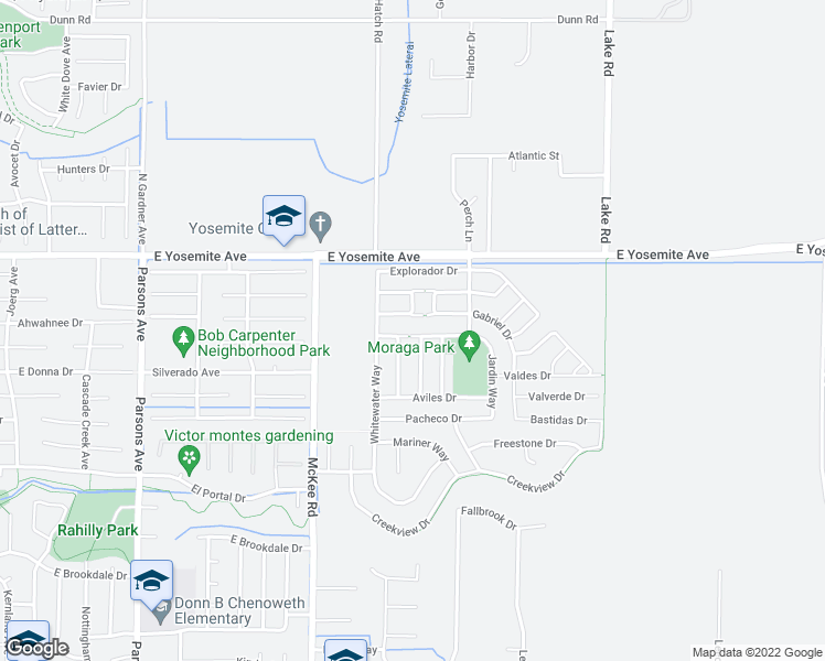 map of restaurants, bars, coffee shops, grocery stores, and more near 2345 Narvaez Way in Merced