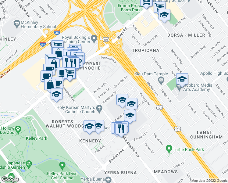 map of restaurants, bars, coffee shops, grocery stores, and more near 1331-1399 Santee Drive in San Jose