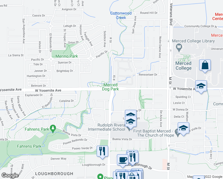 map of restaurants, bars, coffee shops, grocery stores, and more near R St & Yosemite Ave in Merced