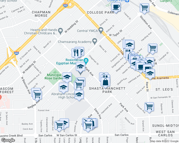 map of restaurants, bars, coffee shops, grocery stores, and more near 1635 Park Avenue in San Jose
