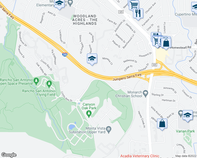 map of restaurants, bars, coffee shops, grocery stores, and more near 23150 Cristo Rey Drive in Los Altos