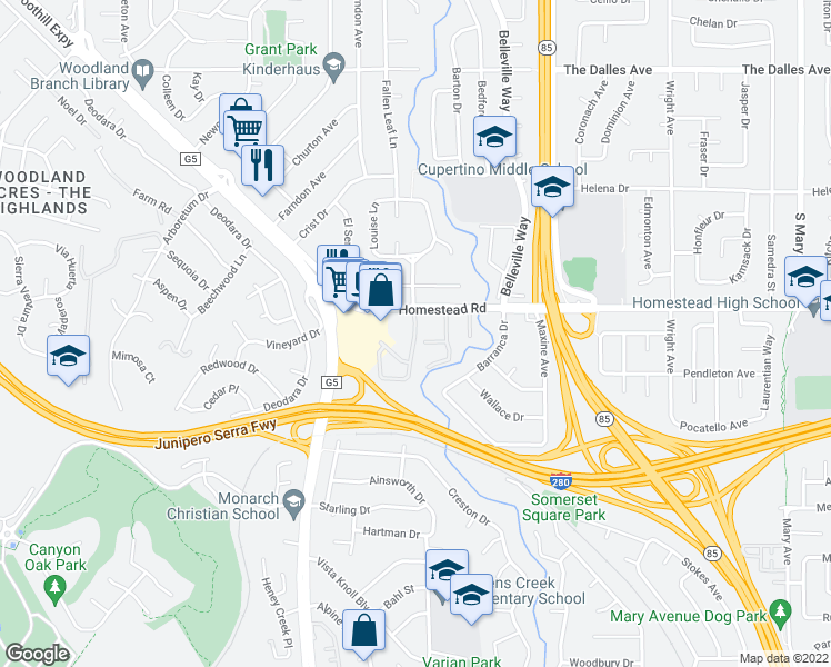 map of restaurants, bars, coffee shops, grocery stores, and more near 22330 Homestead Road in Cupertino