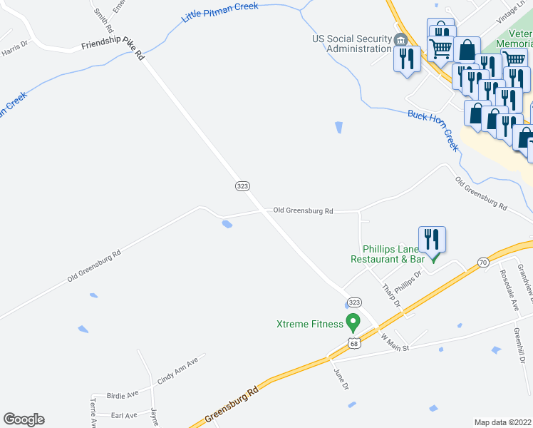map of restaurants, bars, coffee shops, grocery stores, and more near Friendship Pike Road in Campbellsville