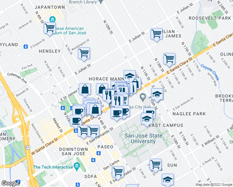 map of restaurants, bars, coffee shops, grocery stores, and more near 1295 East Santa Clara Street in San Jose