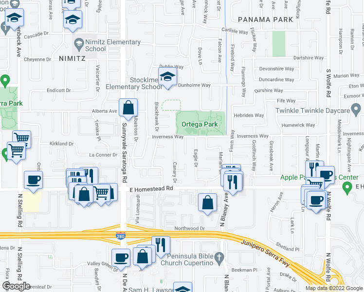 map of restaurants, bars, coffee shops, grocery stores, and more near 1611 Crow Court in Sunnyvale