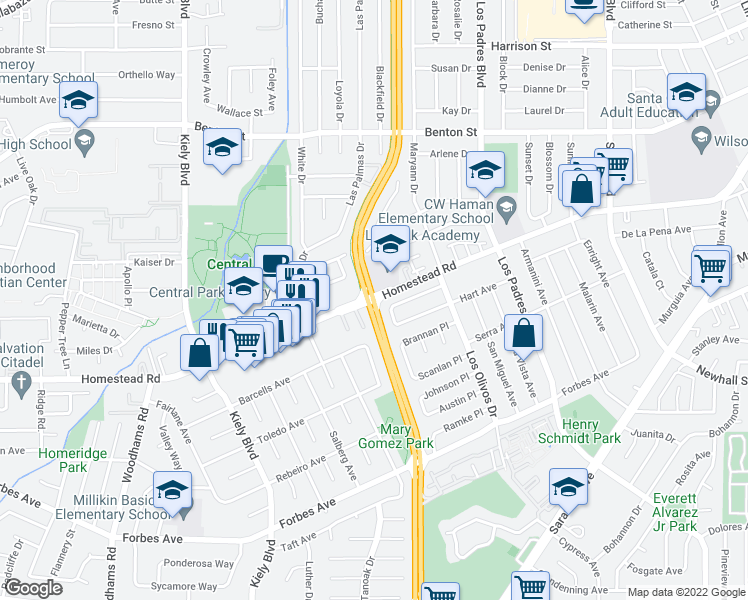 map of restaurants, bars, coffee shops, grocery stores, and more near San Tomas Expy & Homestead Rd in Santa Clara