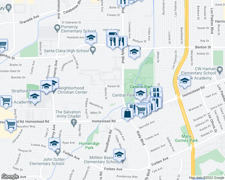 map of restaurants, bars, coffee shops, grocery stores, and more near 2870 Kaiser Drive in Santa Clara