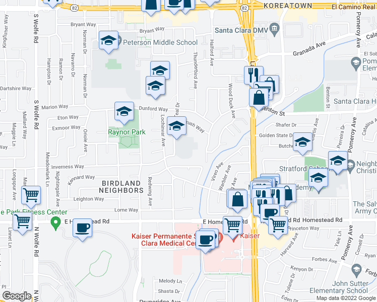map of restaurants, bars, coffee shops, grocery stores, and more near 3761 Benton Street in Santa Clara
