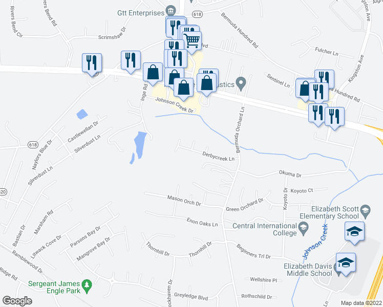 map of restaurants, bars, coffee shops, grocery stores, and more near 307 Derbycreek Lane in Chester