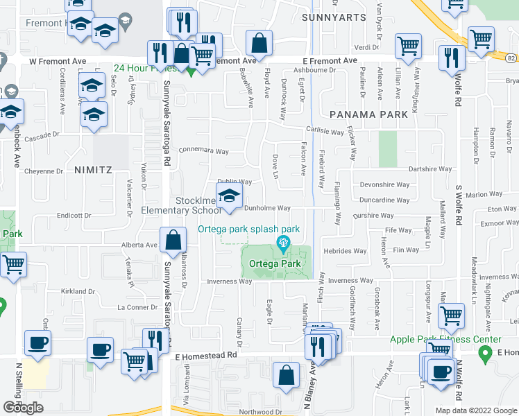 map of restaurants, bars, coffee shops, grocery stores, and more near 1487 Floyd Avenue in Sunnyvale