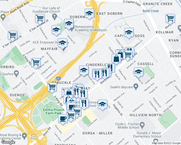 map of restaurants, bars, coffee shops, grocery stores, and more near 930 Alexis Court in San Jose
