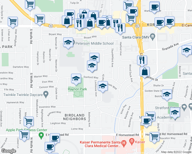 map of restaurants, bars, coffee shops, grocery stores, and more near 1095 Dunford Way in Sunnyvale
