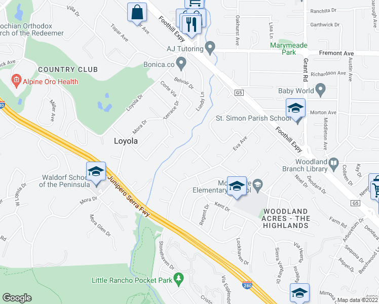 map of restaurants, bars, coffee shops, grocery stores, and more near 999 Crooked Creek Drive in Los Altos