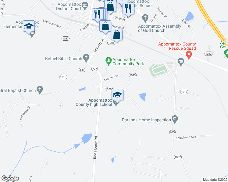 map of restaurants, bars, coffee shops, grocery stores, and more near 189 Evergreen Avenue in Appomattox