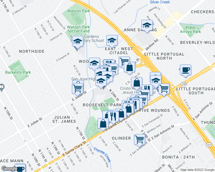 map of restaurants, bars, coffee shops, grocery stores, and more near 228 North 24th Street in San Jose
