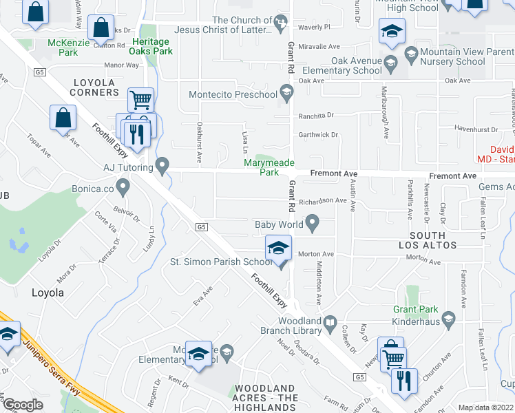 map of restaurants, bars, coffee shops, grocery stores, and more near 1232 Richardson Avenue in Los Altos