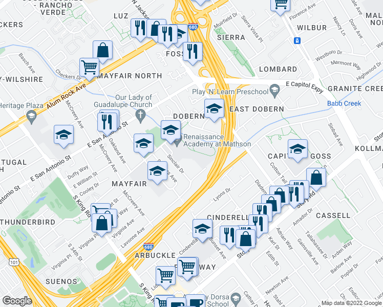 map of restaurants, bars, coffee shops, grocery stores, and more near 2228 Dobern Avenue in San Jose