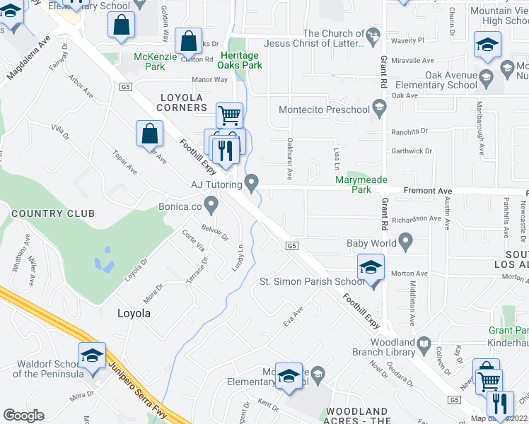 map of restaurants, bars, coffee shops, grocery stores, and more near 1051 Peninsular Court in Los Altos