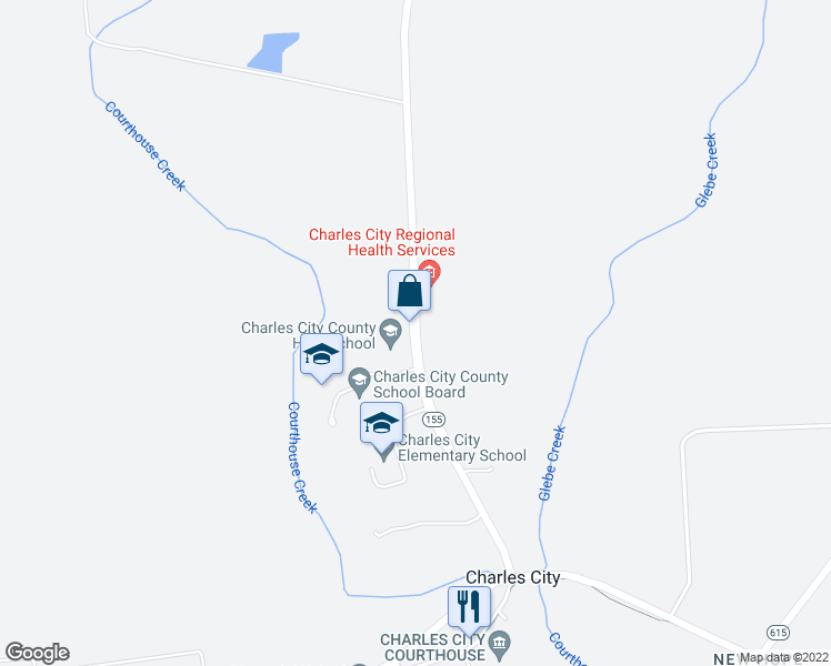 map of restaurants, bars, coffee shops, grocery stores, and more near 10030-10074 Courthouse Road in Charles City