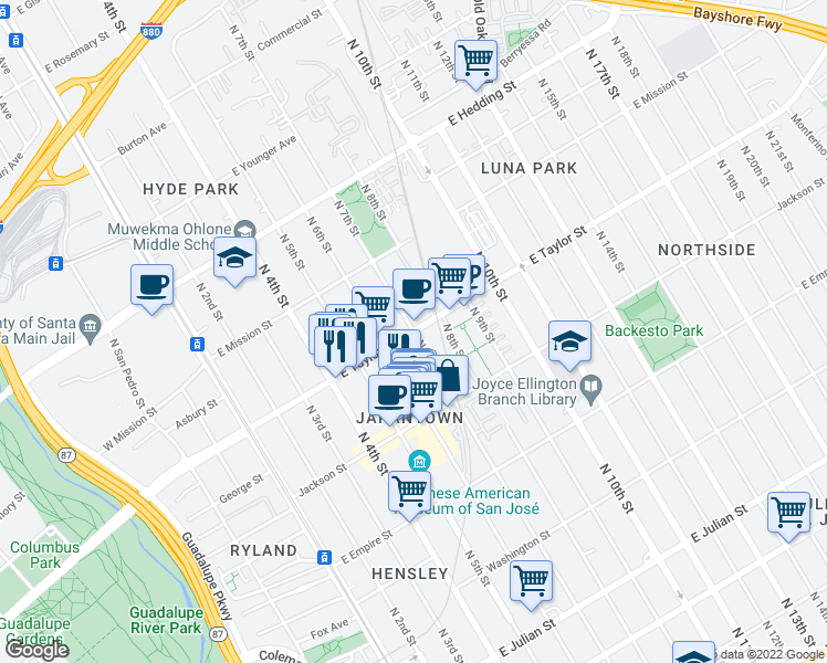 map of restaurants, bars, coffee shops, grocery stores, and more near East Taylor Street & North 7th Street in San Jose