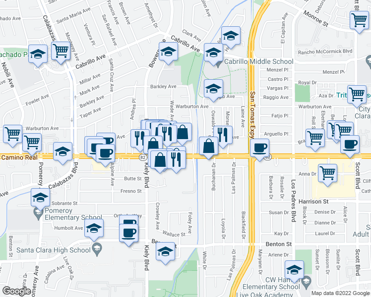 map of restaurants, bars, coffee shops, grocery stores, and more near 2615 El Camino Real in Santa Clara