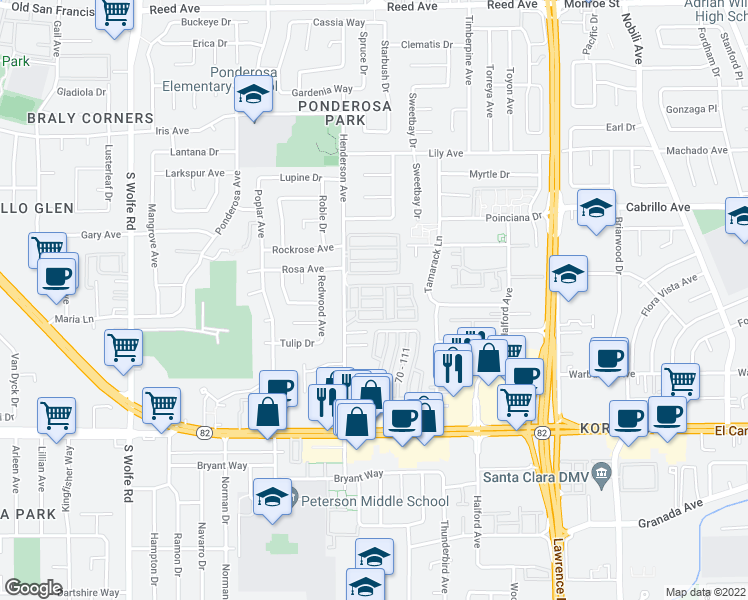 map of restaurants, bars, coffee shops, grocery stores, and more near 954 Henderson Avenue in Sunnyvale