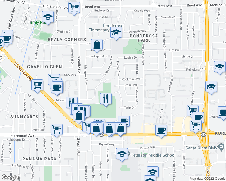 map of restaurants, bars, coffee shops, grocery stores, and more near 987 Starflower Court in Sunnyvale