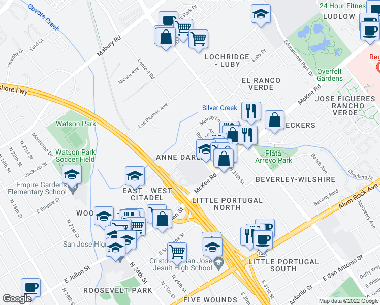 map of restaurants, bars, coffee shops, grocery stores, and more near 1585 Marburg Way in San Jose