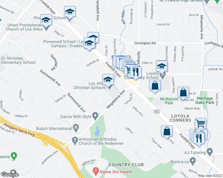 map of restaurants, bars, coffee shops, grocery stores, and more near 1143 Hillslope Place in Los Altos