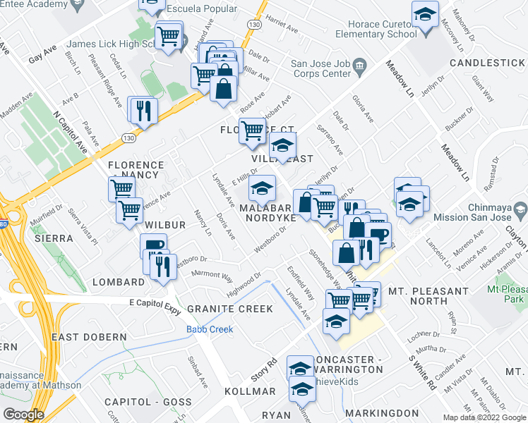 map of restaurants, bars, coffee shops, grocery stores, and more near 530-598 Nordyke Drive in San Jose