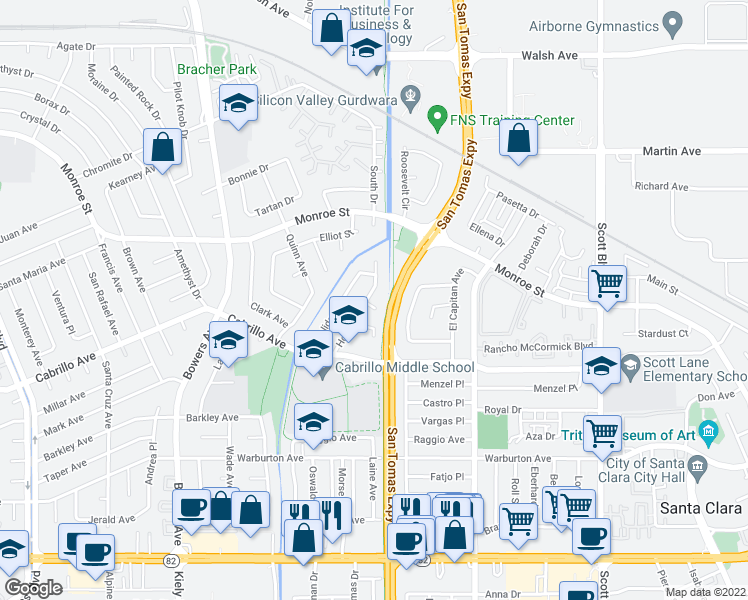 map of restaurants, bars, coffee shops, grocery stores, and more near 2139 Hoover Court in Santa Clara