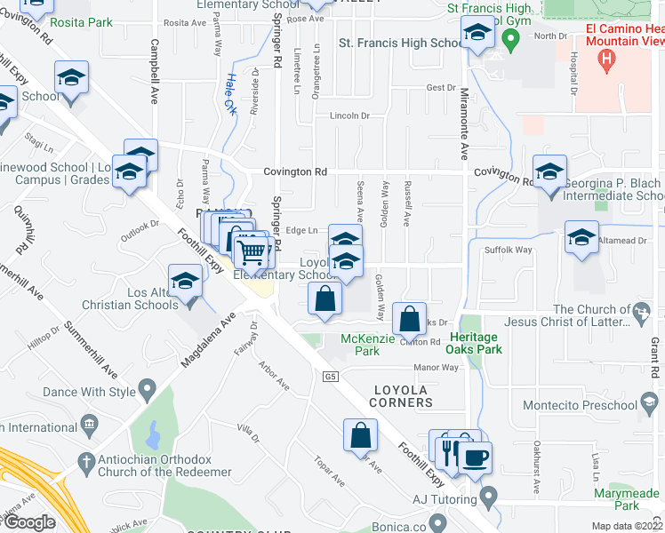 map of restaurants, bars, coffee shops, grocery stores, and more near 751 Alvina Court in Los Altos