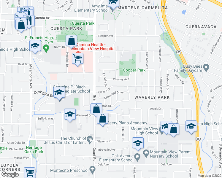 map of restaurants, bars, coffee shops, grocery stores, and more near 331 Levin Avenue in Mountain View