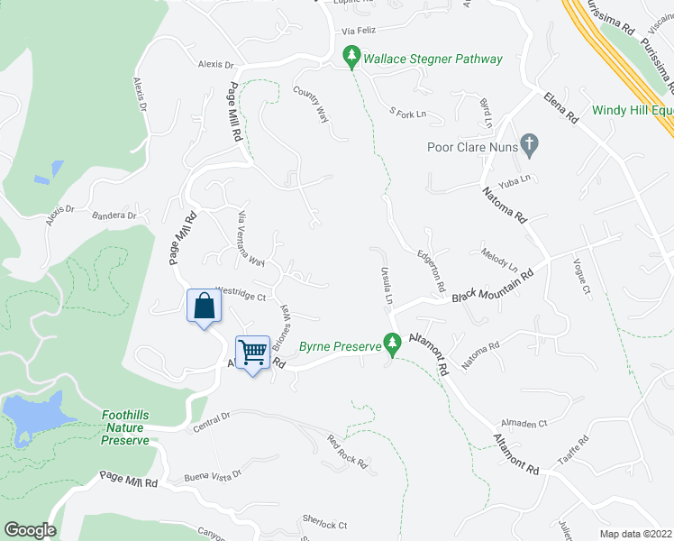 map of restaurants, bars, coffee shops, grocery stores, and more near 27621 Vía Cerro Gordo in Los Altos Hills