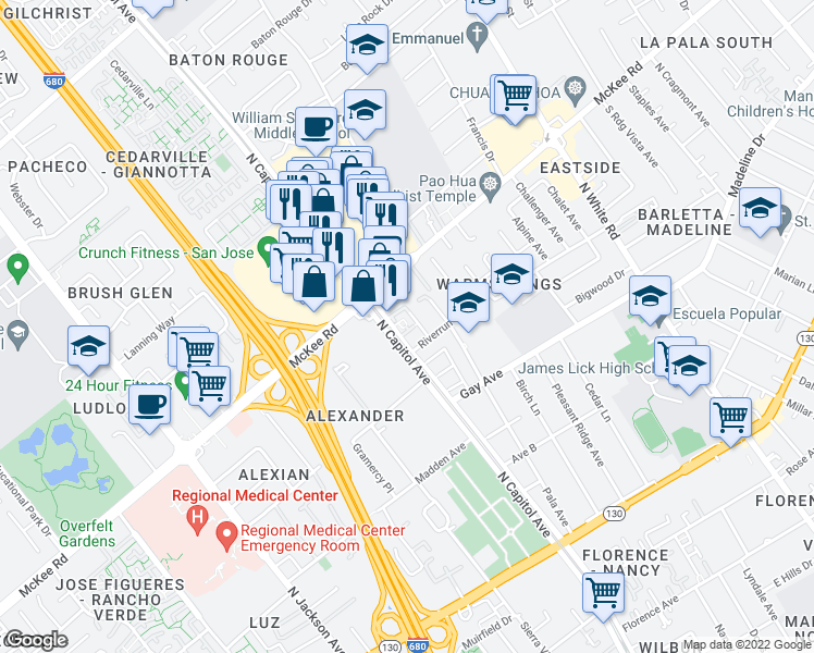 map of restaurants, bars, coffee shops, grocery stores, and more near 260 North Capitol Avenue in San Jose