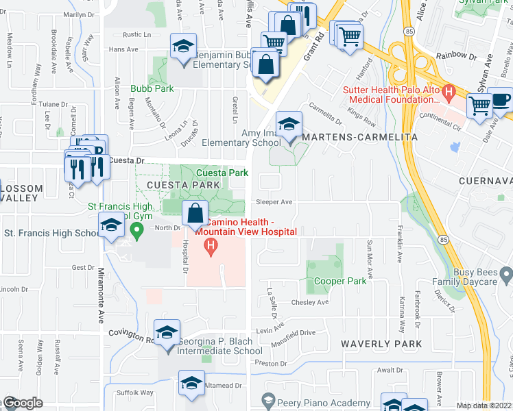 map of restaurants, bars, coffee shops, grocery stores, and more near 103 Sleeper Avenue in Mountain View