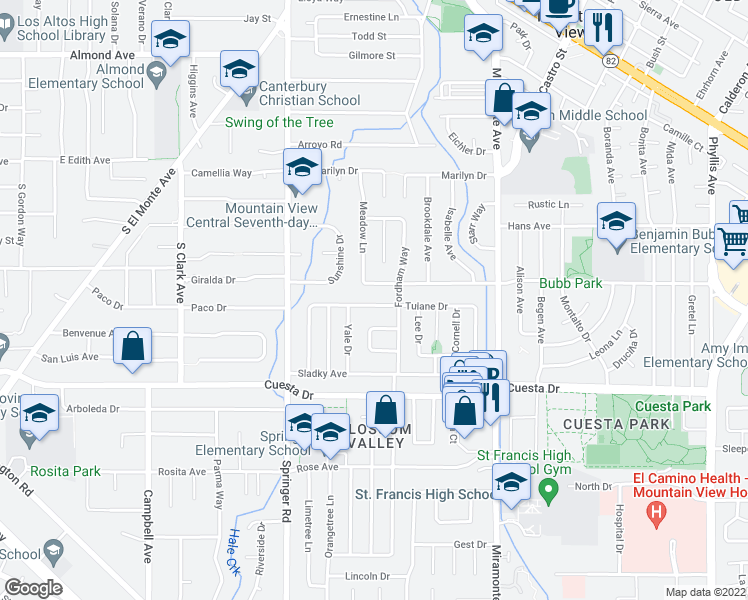 map of restaurants, bars, coffee shops, grocery stores, and more near 1034 Tulane Drive in Mountain View