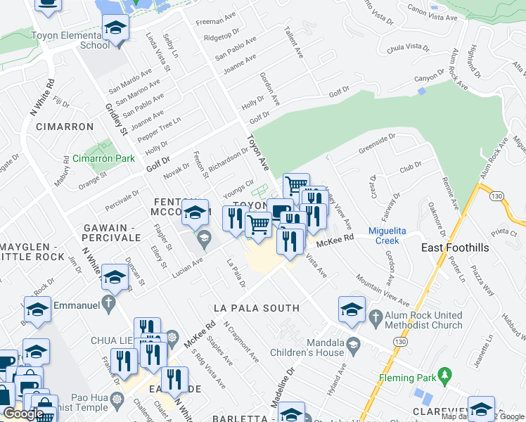 map of restaurants, bars, coffee shops, grocery stores, and more near 3246 Cortese Circle in San Jose