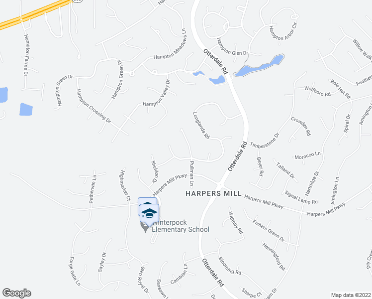 map of restaurants, bars, coffee shops, grocery stores, and more near 8436 Pullman Lane in Chesterfield