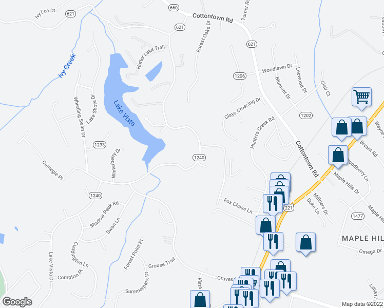 map of restaurants, bars, coffee shops, grocery stores, and more near 507 Lake Vista Drive in Forest