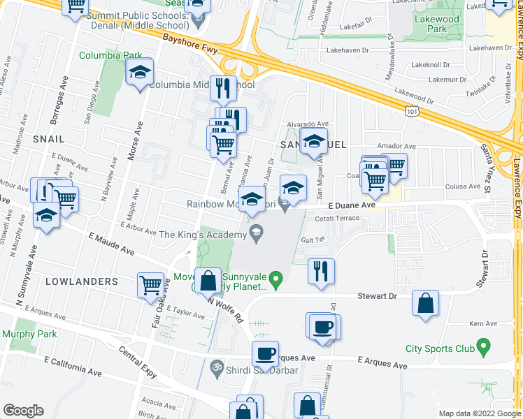 map of restaurants, bars, coffee shops, grocery stores, and more near 723 East Duane Avenue in Sunnyvale